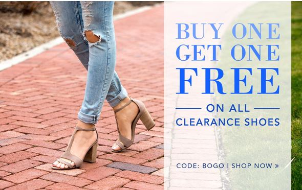 heels buy 1 get 1 free on all clearance shoes plus free
