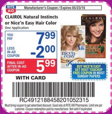 Clairol Nice 'n Easy Hair Color ONLY $ @ Walgreens Clairol Nice 'n Easy Hair Color ONLY $ @ Walgreens. At Walgreens in the New Weekly Ad for 11/04 to 11/10/18 we have a sale on Clairol Nice 'n Easy Hair Colors @ 2/$14 and Earn $ Register Rewards wyb 2.