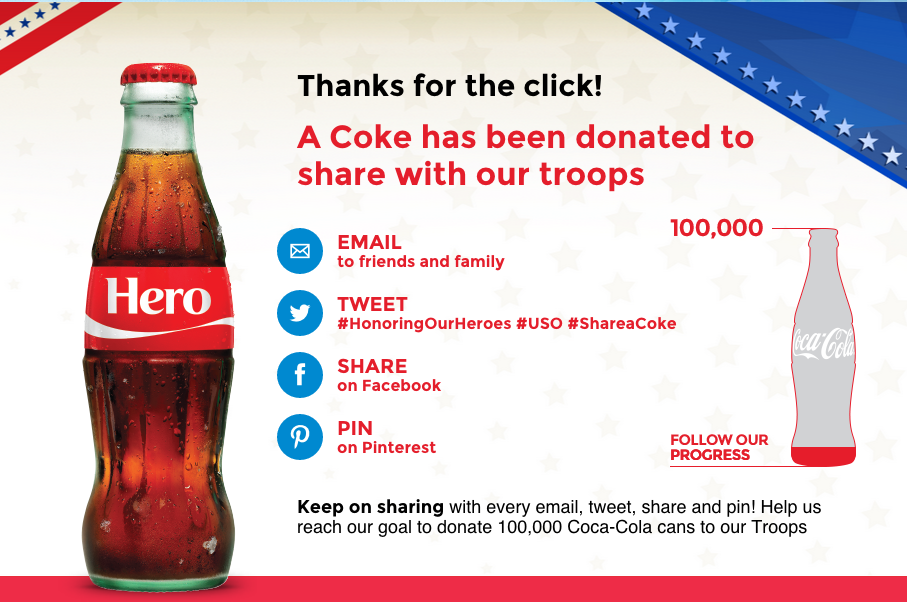 Send a FREE Coca-Cola to American Troops! (just a click away!)