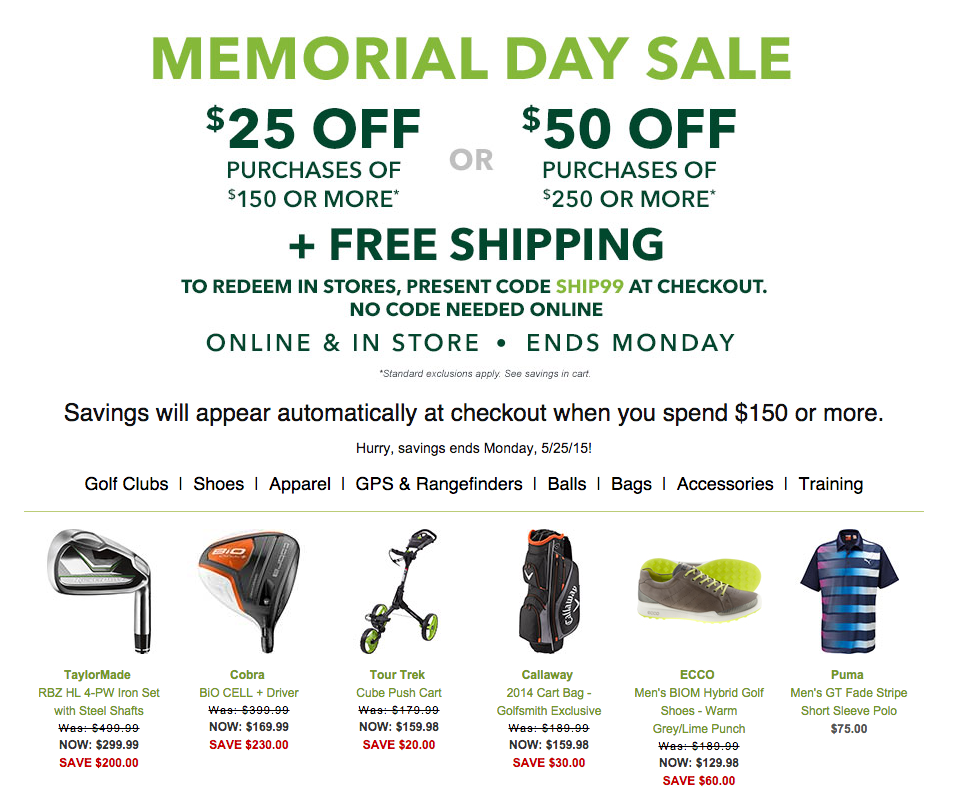 golfsmith fathers day deals