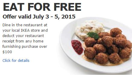 Eat For Free At Ikea With Your Purchase Of 100 Or More