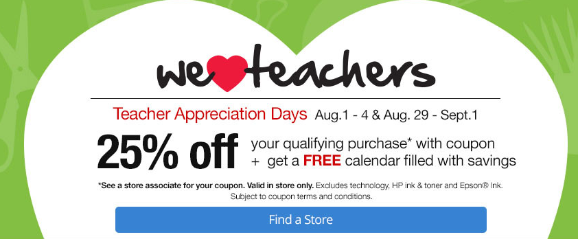 Teacher Appreciation Days At Office Max Office Depot Save 25 Off Your Entire Purchase Get A Free Calendar Filled With Coupons Freebies2deals