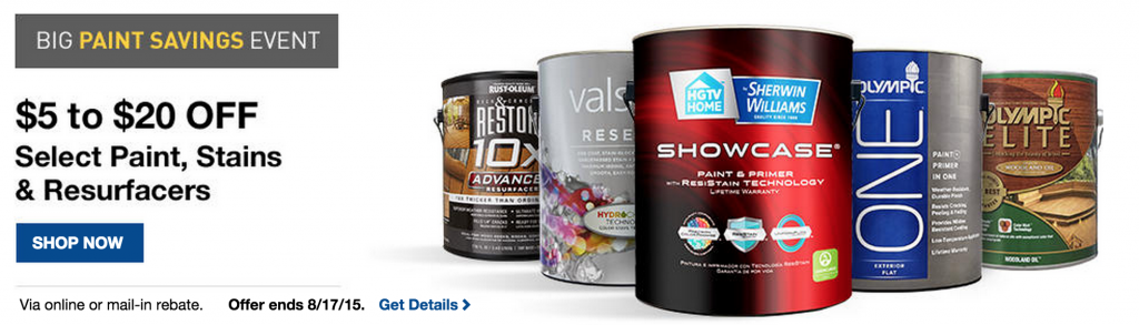 Paint rebate get 5 20 back for Buying paint at lowes