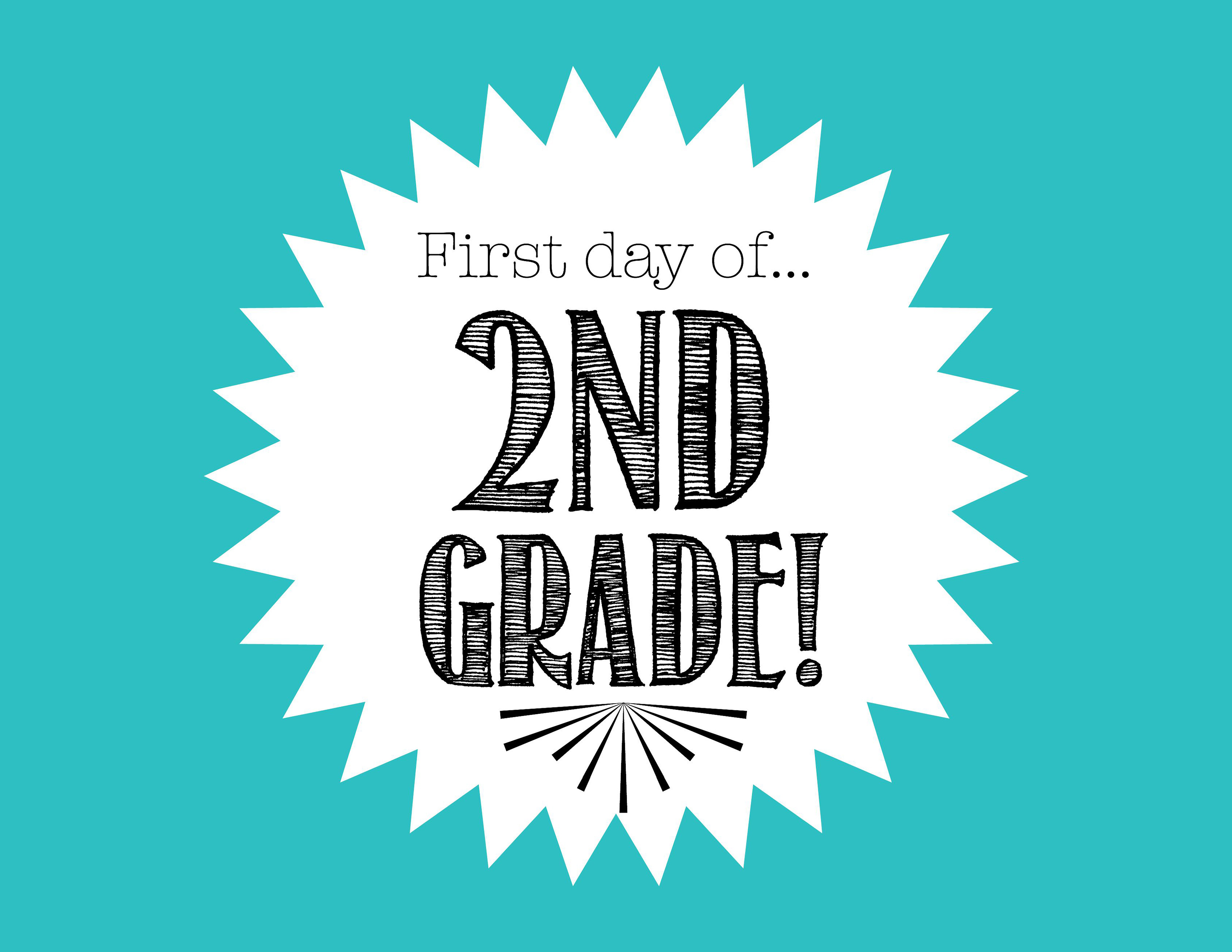 This is a graphic of Wild First Day of 2nd Grade Printable Sign