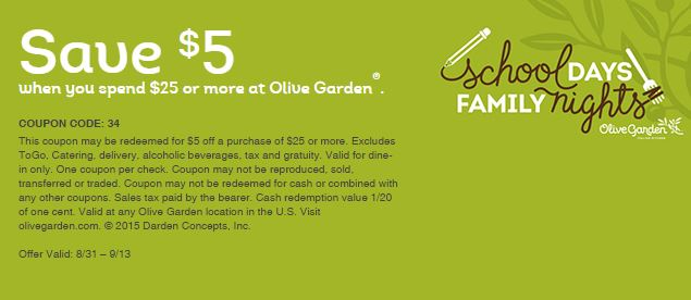 Olive Garden 5 Off When You Spend 25 Or More