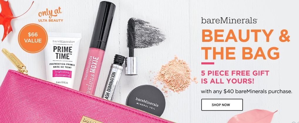 ULTA: FREE 5 Piece Gift With Any $40 bareMinerals Purchase! (A $66 ...