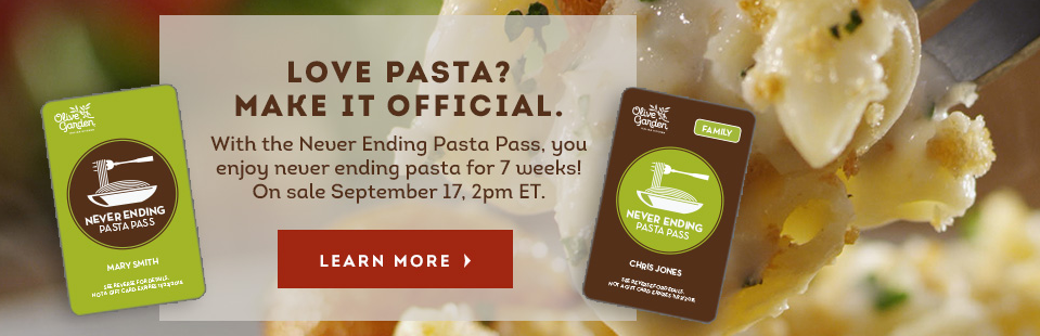Olive Garden 7 Week Never Ending Pasta Pass Available