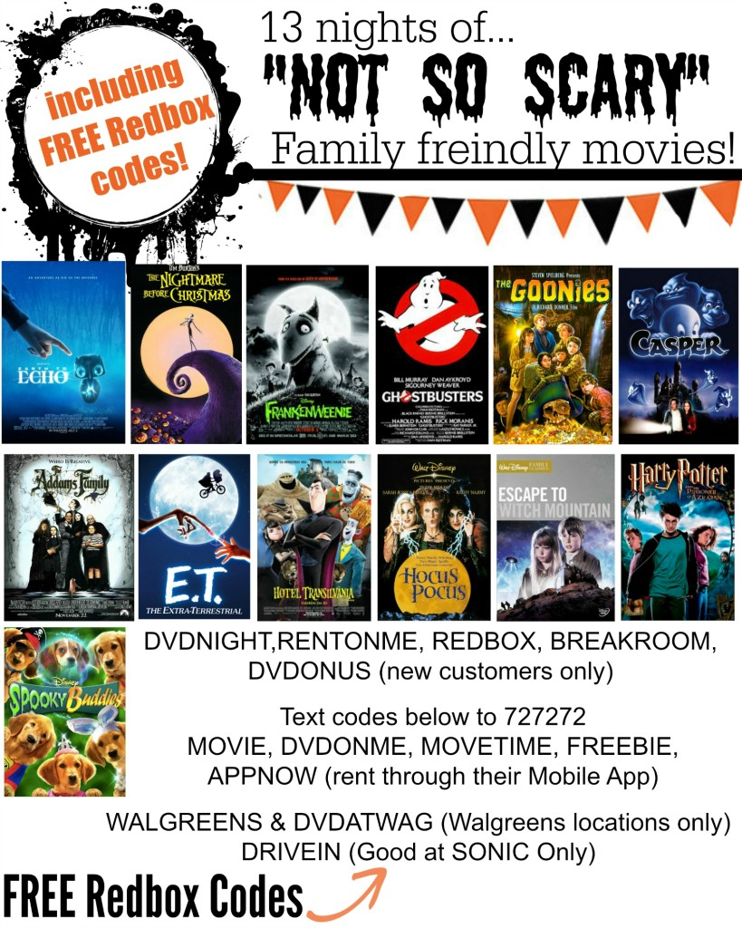 Family Friendly Halloween Movies & FREE Redbox Codes!