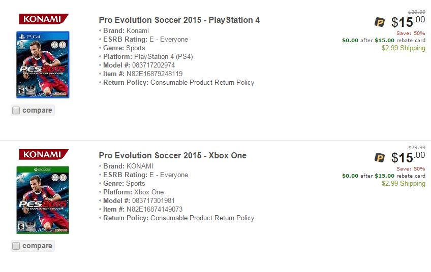 Newegg: Pro Evolution Soccer 2015 for PS4 & Xbox One FREE After ...