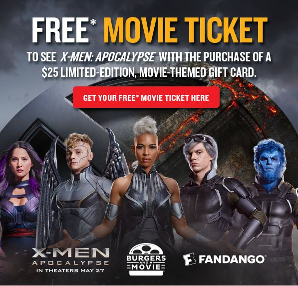 free movie ticket to see x men apocalypse with 25 red robin gift card purchase freebies2deals. Black Bedroom Furniture Sets. Home Design Ideas