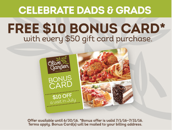 Olive garden free 10 bonus card with every 50 gift card purchase freebies2deals for Olive garden gift card specials
