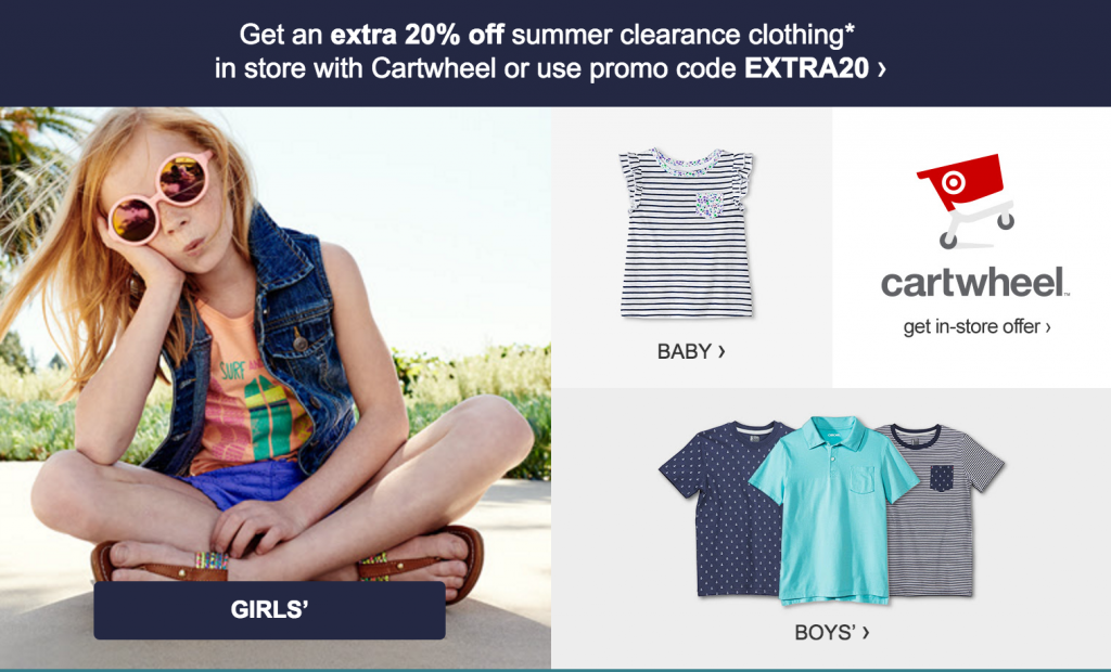 e18c1ce0fff Screen Shot 2016-07-14 at 12.58.05 PM. Head over to Target where you can  take an additional 20% off kids summer clearance clothing!