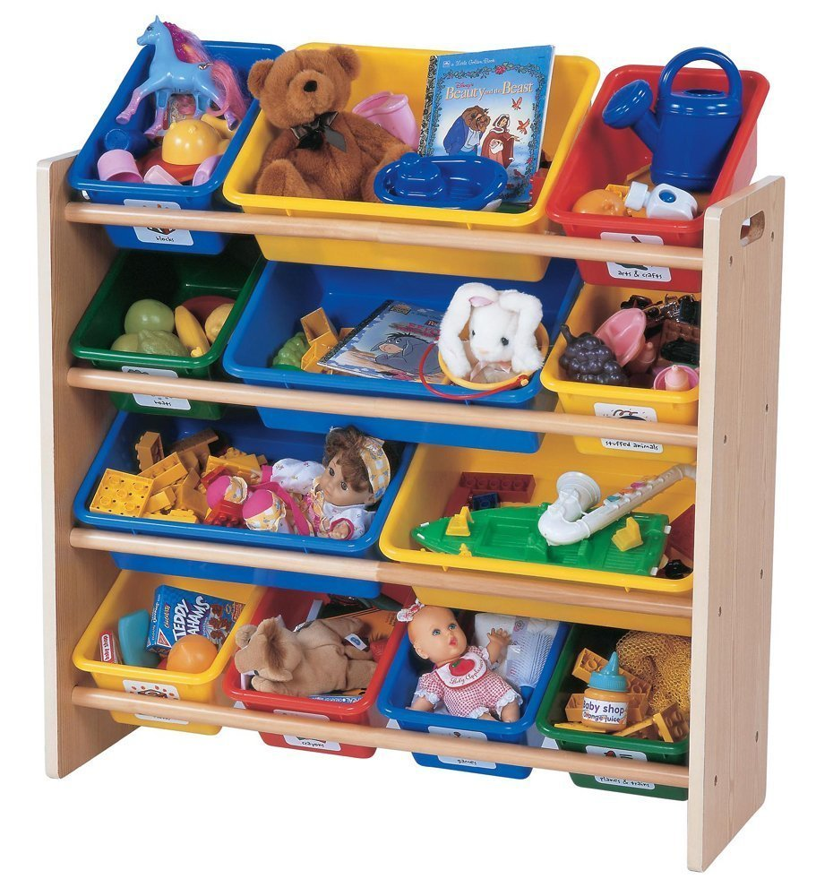 tot tutors kids 39 toy organizer with storage bins primary colors only or store all unit. Black Bedroom Furniture Sets. Home Design Ideas