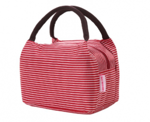red striped lunch tote