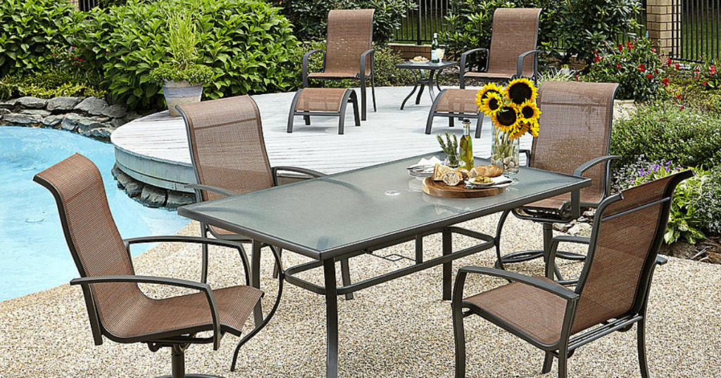 Superb Kmart has the Essential Garden Harley pc patio dining set marked down to only Reg This set includes stationary chairs
