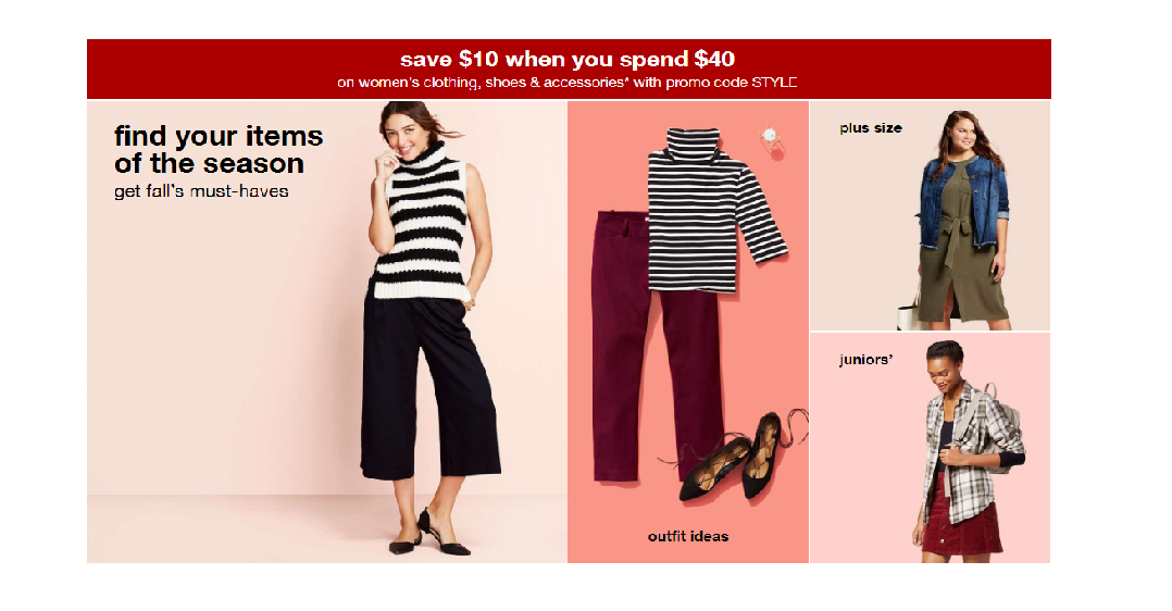 f08d5cccb22 Target  Save  10 Off Your  40 Purchase on Select Women s   Juniors ...