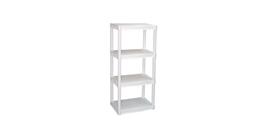 plano 4 tier heavy duty plastic shelving unit only freebies2deals. Black Bedroom Furniture Sets. Home Design Ideas