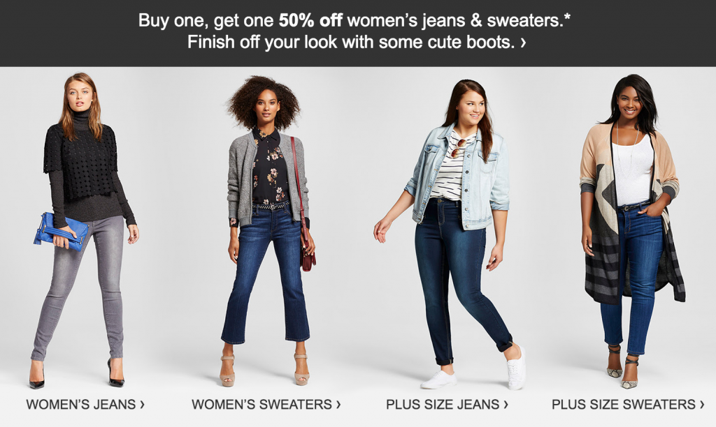 Womens Jeans Sweaters Buy One Get One 50 Off At Target