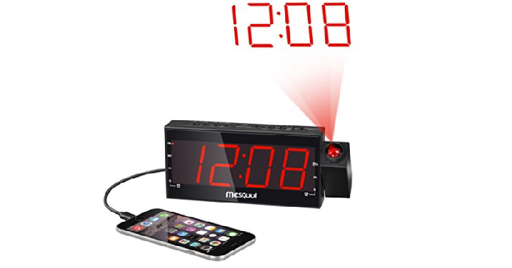 mesqool am fm digital dimmable projection alarm clock radio with 1 8 led display only. Black Bedroom Furniture Sets. Home Design Ideas