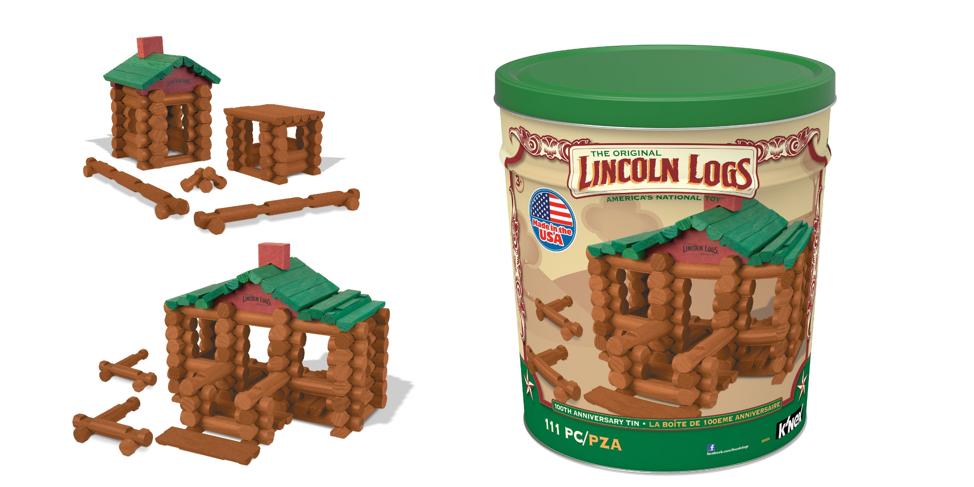 Lincoln Logs 111 Pc 100th Anniversary Tin Only 22 50