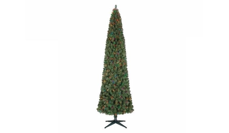 9ft Pre-Lit Artificial Christmas Tree Alberta Slim Spruce