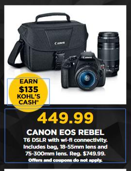 The Kohl's Black Friday Sale! Canon EOS REBEL T6 DSLR Camera Zoom ...