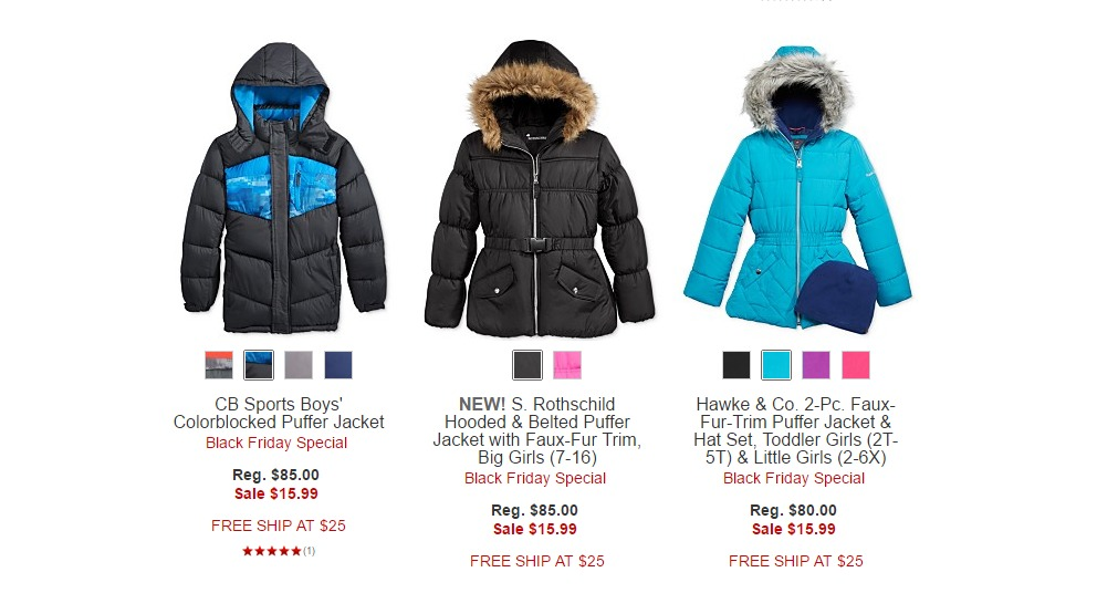 f287f40c2259 HOT  Kids  Puffer Jackets Just  15.99 From Macy s! Early Back Friday ...