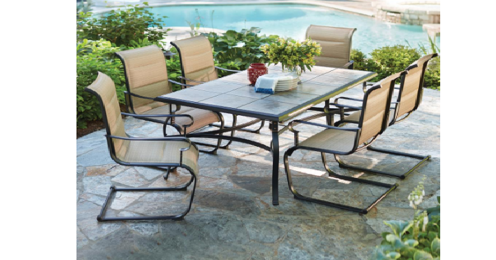 Looking for a new patio set? Head over to Home Depot has get the Hampton  Bay Belleville 7-Piece Padded Outdoor Dining Set for only $299! (Reg. - Hampton Bay Belleville 7-Piece Padded Outdoor Dining Set Only $299