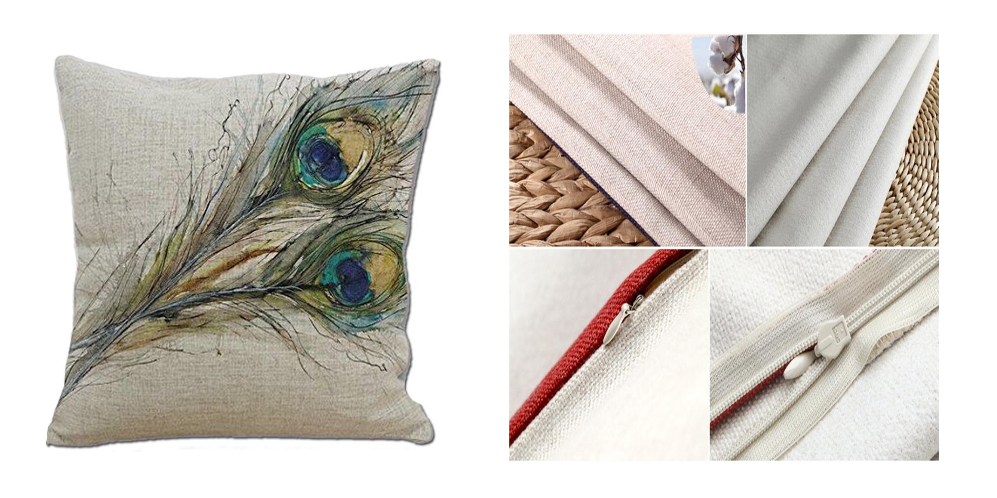 peacock throw pillow cover