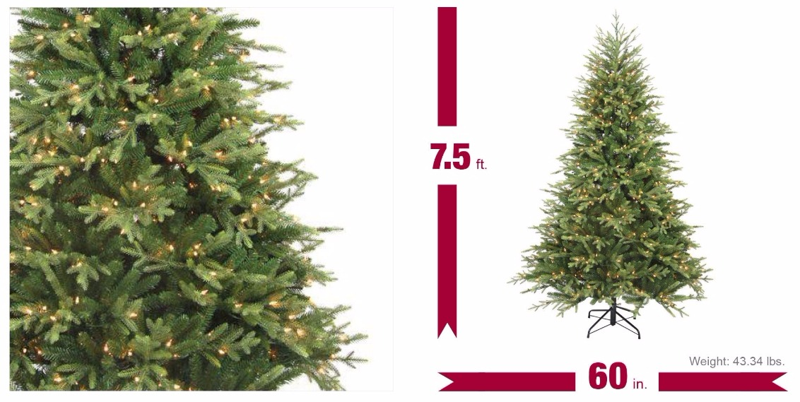 7.5 Ft. Pre-Lit Balsam Artificial Christmas Tree With 600