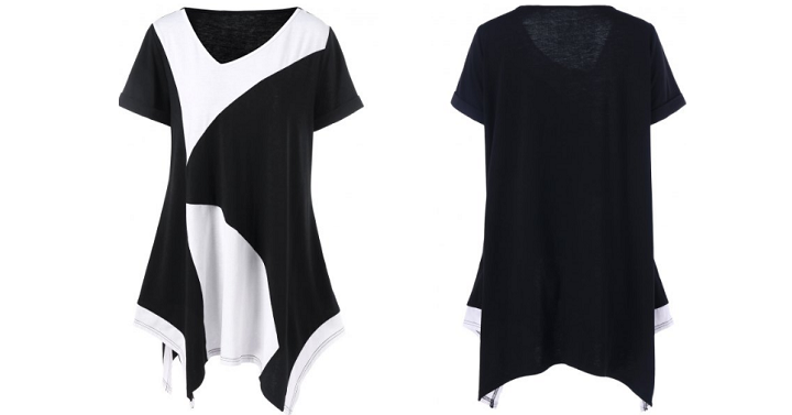 Plus Size Cuffed Sleeve Asymmetrical T-Shirt Only $8.47 Shipped! - Deals & Coupons