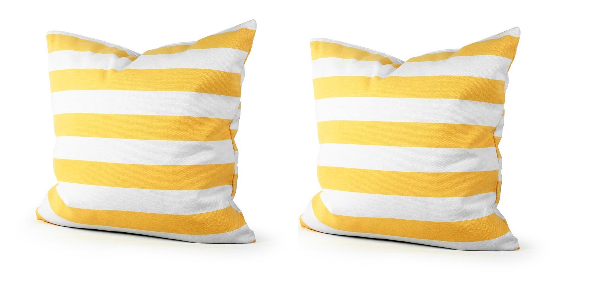 yellow stripe throw pillow case