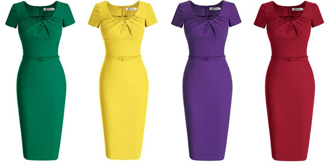 9a5d9ae23f3ed Head over to Amazon where you can get one of these MUXXN Women s 1950s  Vintage Short Sleeve Pleated Pencil Dress for only  29.99 ...