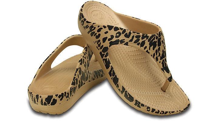 Crocs Women's Sloane Leopard Flip Flops