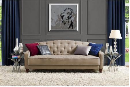 Novogratz Vintage Tufted Sofa Sleeper II in Taupe ly $229 Freebies2Deals