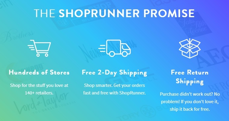 ShopRunner offer FREE 2 day shipping and returns Packages arrive within 2 business days, provided order is placed before 6 PM (ET). Not available for items shipping to PO Boxes, U.S. Territories and APO/FPO addresses.