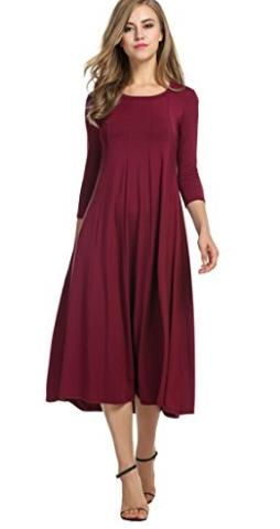 190fd56647 Check out this super cute dress! Right now, Amazon has this HOTOUCH Women's  3/4 Sleeve A-line and Flare Midi Long Dress for only $28.99 shipped! (Reg.