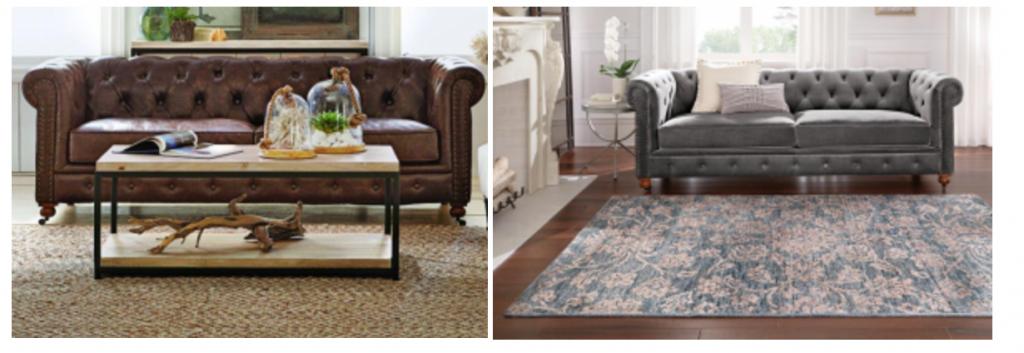 Home Decorators Collection Gordon Brown Leather Or Gray Velvet Sofa
