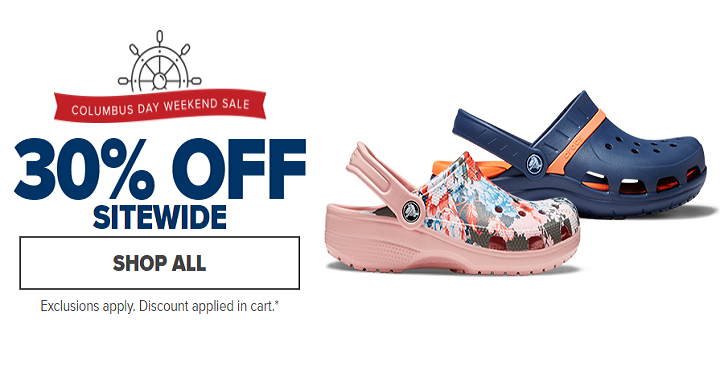 Now through October 10th, you can save an extra 30% off sitewide at Crocs!  Just use coupon code 30OFF at checkout! They have kids styles starting for  $14.99 ...