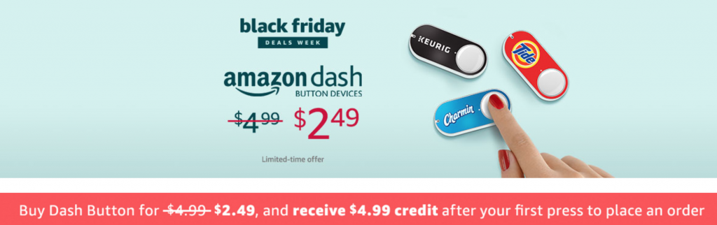 Black friday archives freebies2deals amazon is celebrating black friday with 50 off select dash buttons get them for just 249 and receive a 499 credit after your first order fandeluxe Choice Image