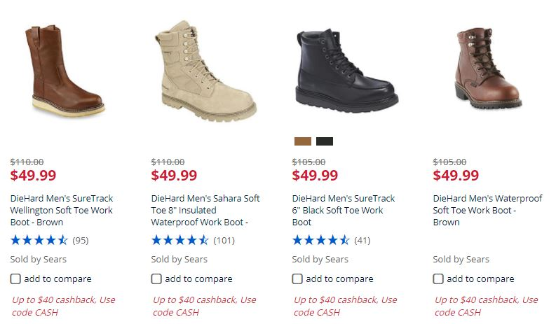 sears men s work boots starting at only 49 00 plus earn cashback