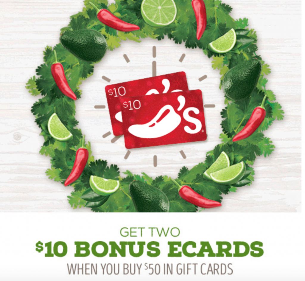 Buy 50 in chilis gift cards get 20 in egift cards online head over to chilis and get two 10 bonus ecards when you buy 50 in gift cards that means you are getting 70 in gift cards for just 50 xflitez Gallery