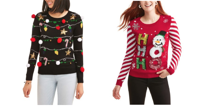 hurry over to walmart where they have a variety of no boundaries christmas sweaters for just 400 on clearance choose from seven different designs ranging - Christmas Sweaters Walmart