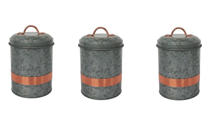 Super cute better homes gardens galvanized small canister only each must buy 2 for Better homes and gardens canisters