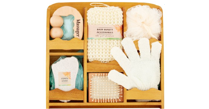 Essential Design Bath Set In Wooden Caddy 7 Pieces Only 494