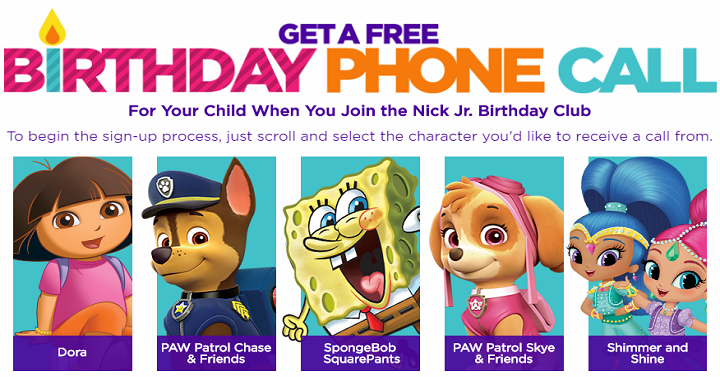 FREE Nick Jr. Characters Call on Your Kids Birthday! - Freebies2Deals