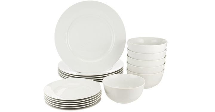 I like really basic clean looking dinnerware! This set from Amazon is very much that! The white is classy and clean looking. Need some new dishes or know ...  sc 1 st  Freebies2Deals & AmazonBasics 18-Piece Dinnerware Set Service for 6 - Just $31.99 ...