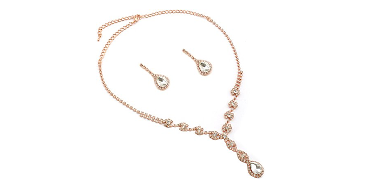 Rose Gold Plating Dangle Necklace Earrings Set Just 999 Prom