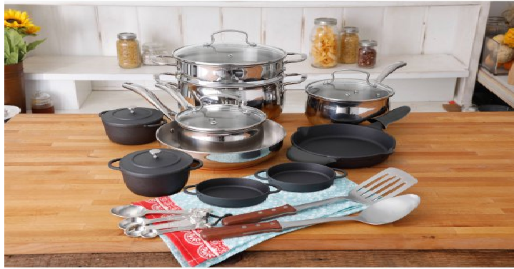 The Pioneer Woman Copper Charm 23 Piece Cookware Combo Set