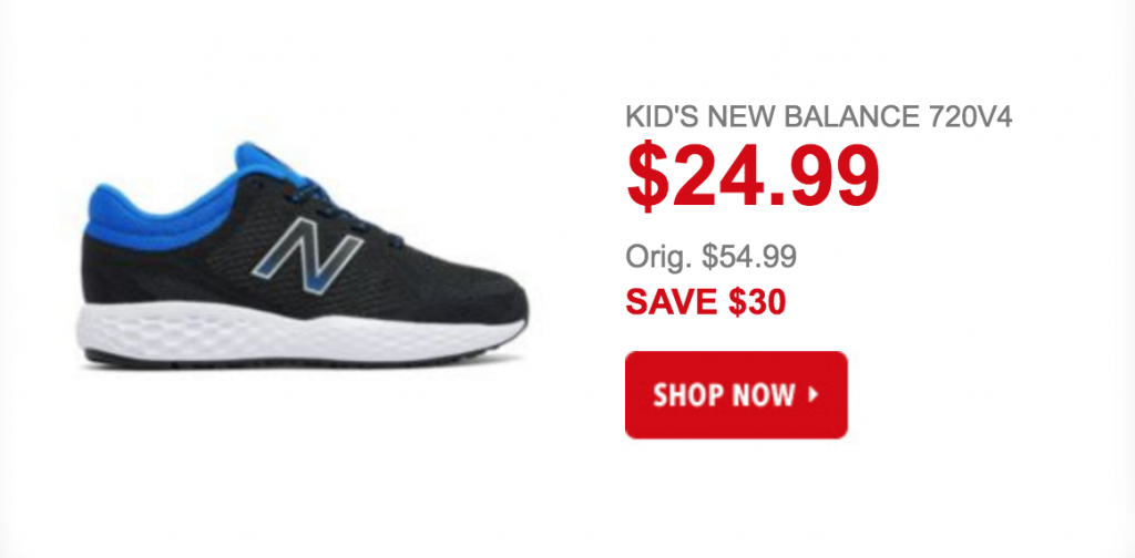 Today only, April 17th, you can get the Kid's New Balance 720v4 for just  $24.99! (regularly $54.99) Plus, promo code DOLLARSHIP should drop the  shipping ...